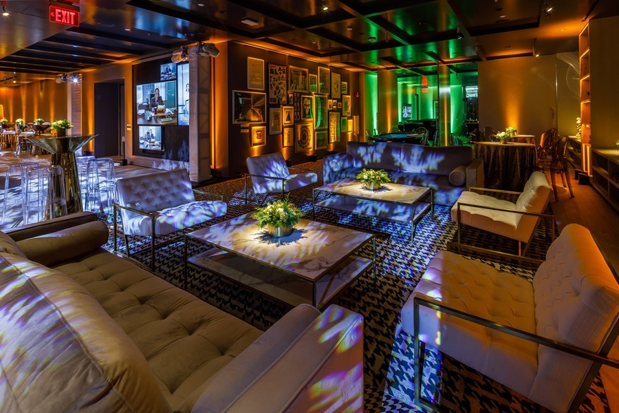 Big couches and seating at corporate party