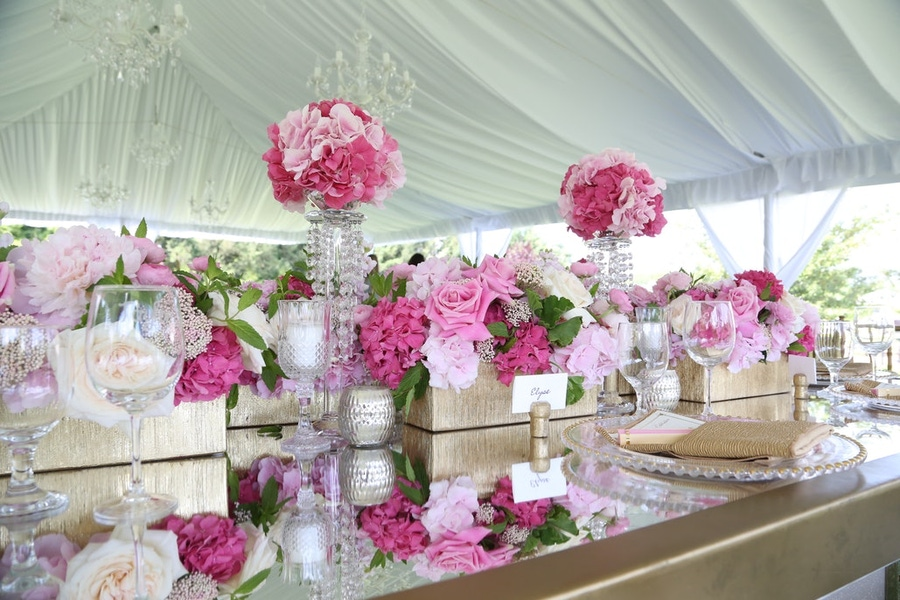 Pink florals on a gold table