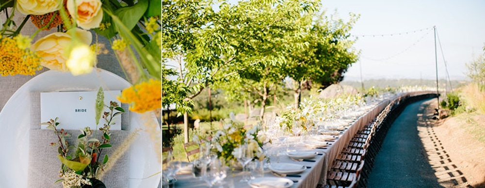 Outdoor dining tables and vibrant flowers at Arista Winery