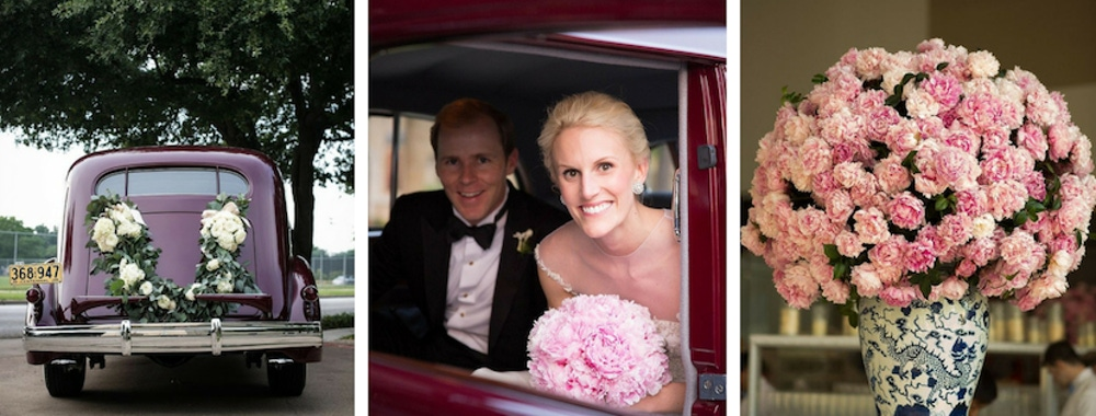 Bradley Agather Means and wife just married car with pink florals