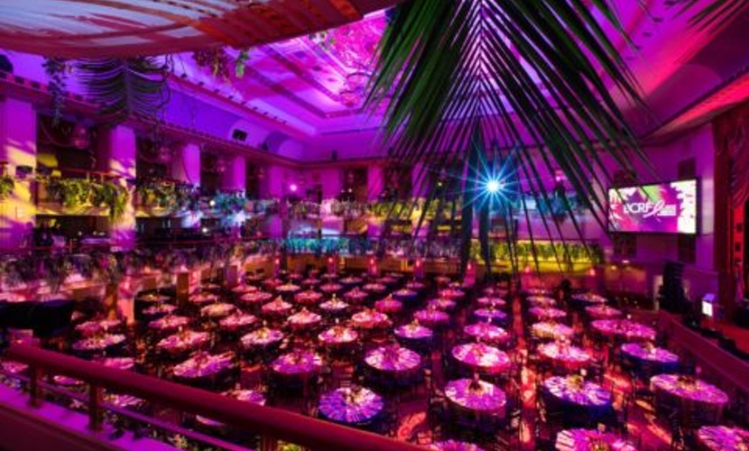Party ballroom with pink lighting and tropical decor