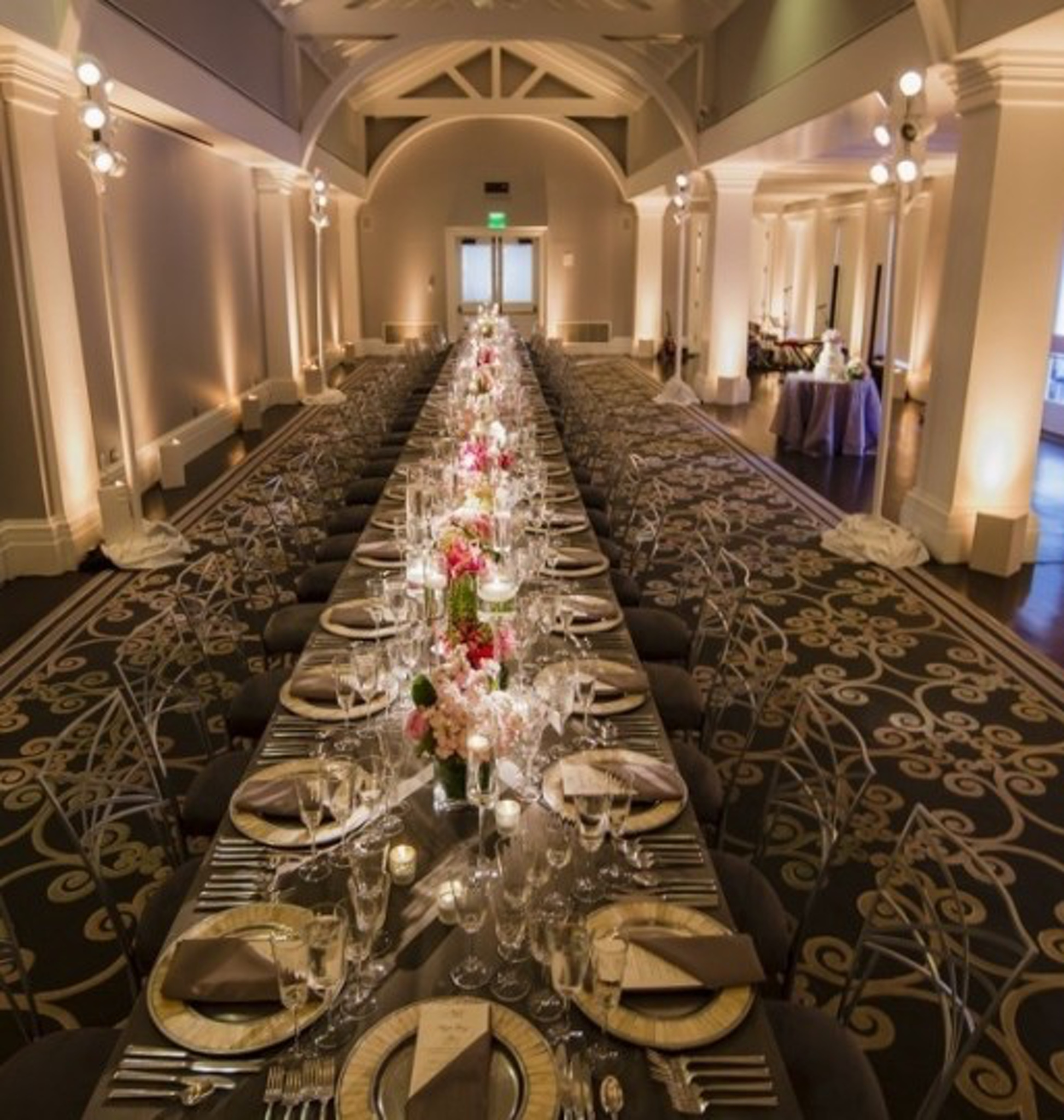 dramatic long dining table in washington, d.c. landmark event space at decatur house