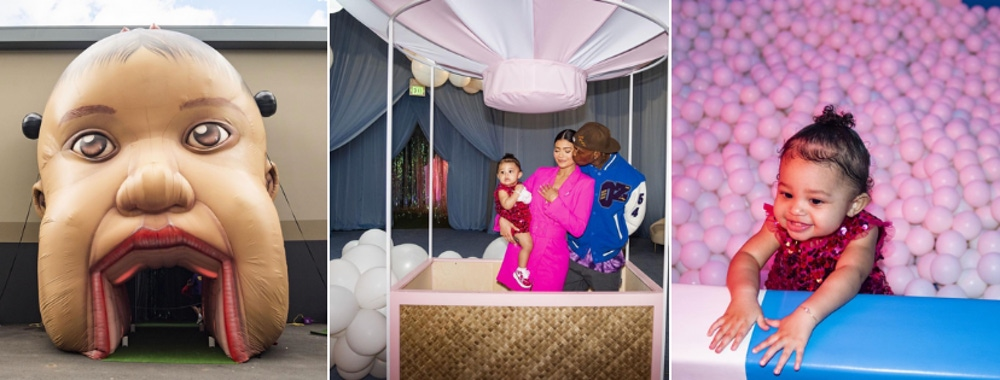 Stormi Webster's first birthday party ball pit and decor
