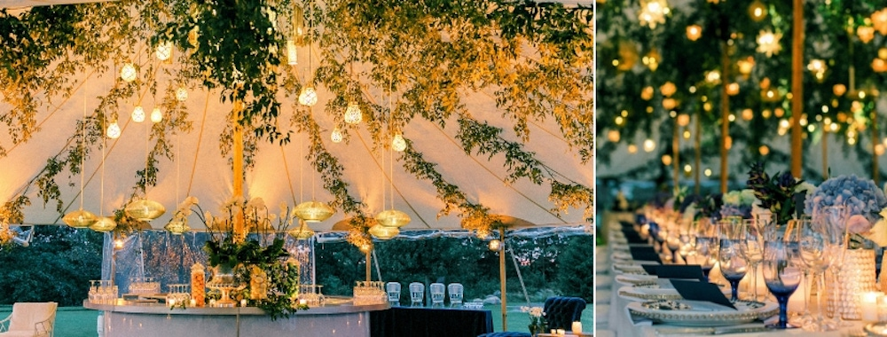 Greenery lined tent