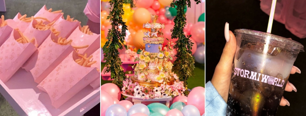 Multi layered colorful cake, appetizers and drinks