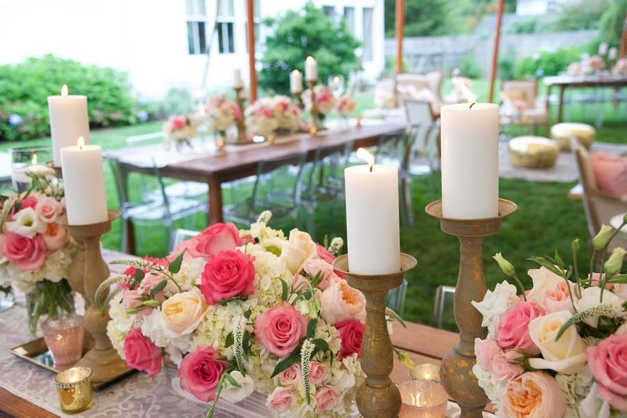Pink florals and white candles