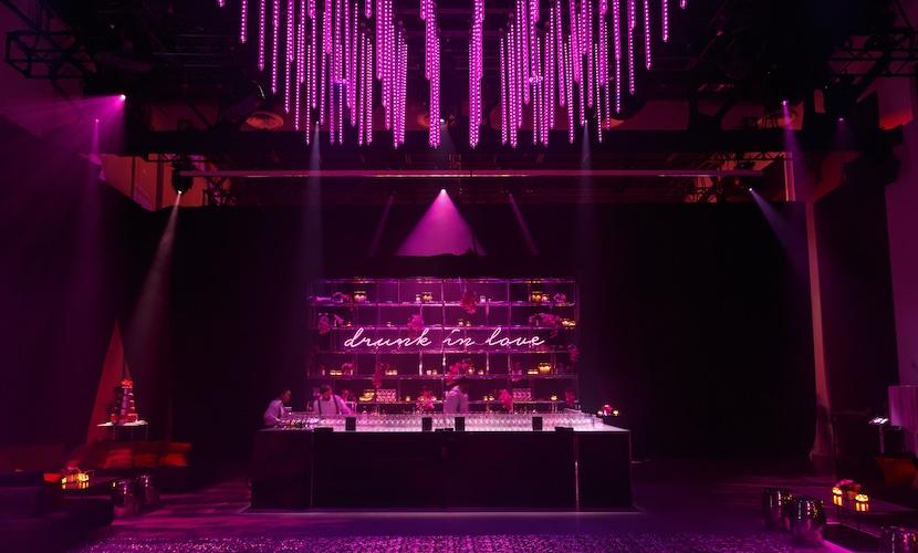 pink lit room