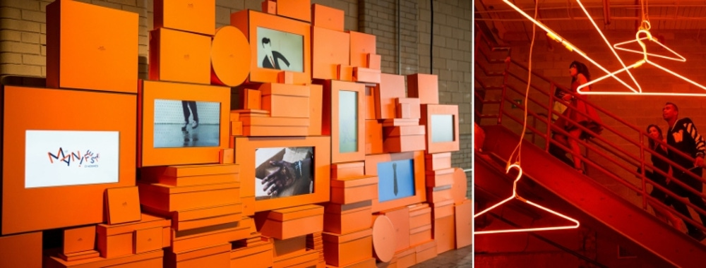 Orange boxes and picture frames