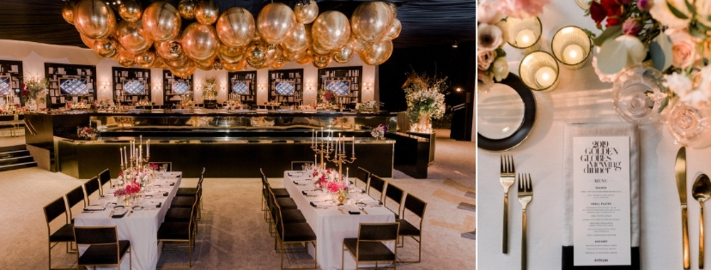 Gold balloons and place setting