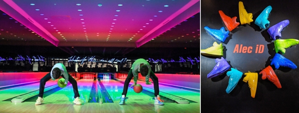 Rainbow bowling alley and shoes
