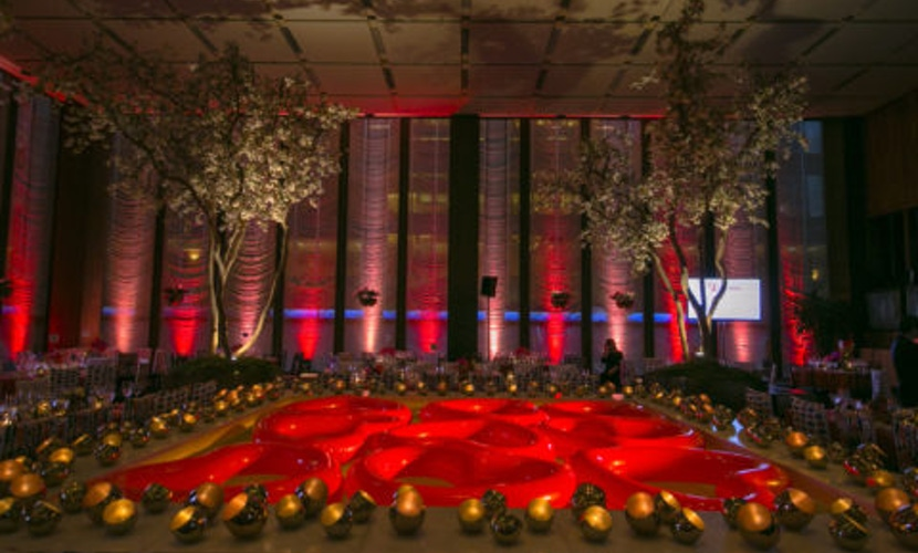 Red party with tree decor