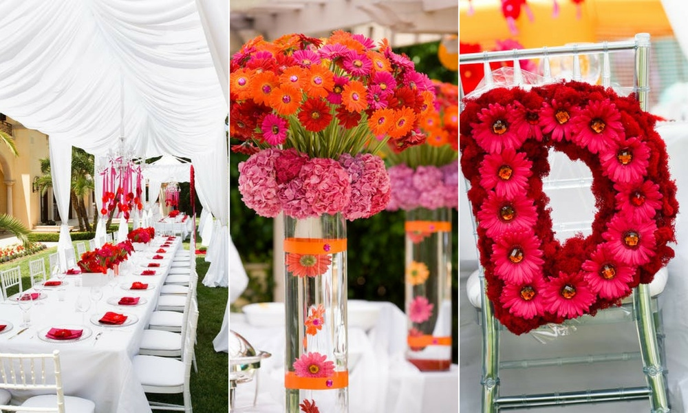 red, pink and orange florals and white party decor