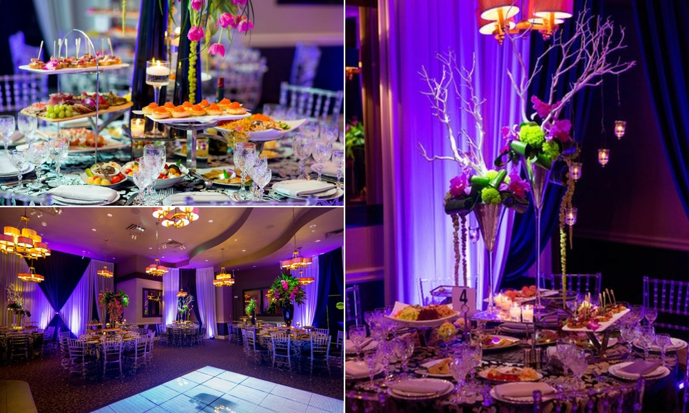 dark purple and white draping, big party center pieces and appetizer buffet
