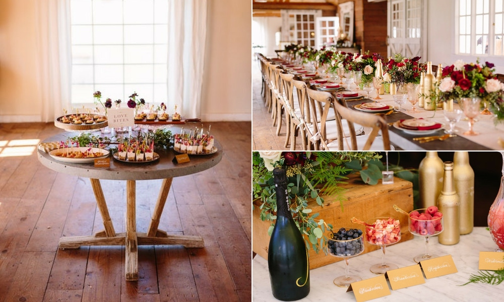 rustic party decor and appetizers