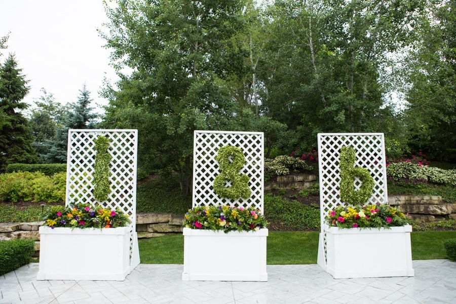 Greenery and floral initials and decor