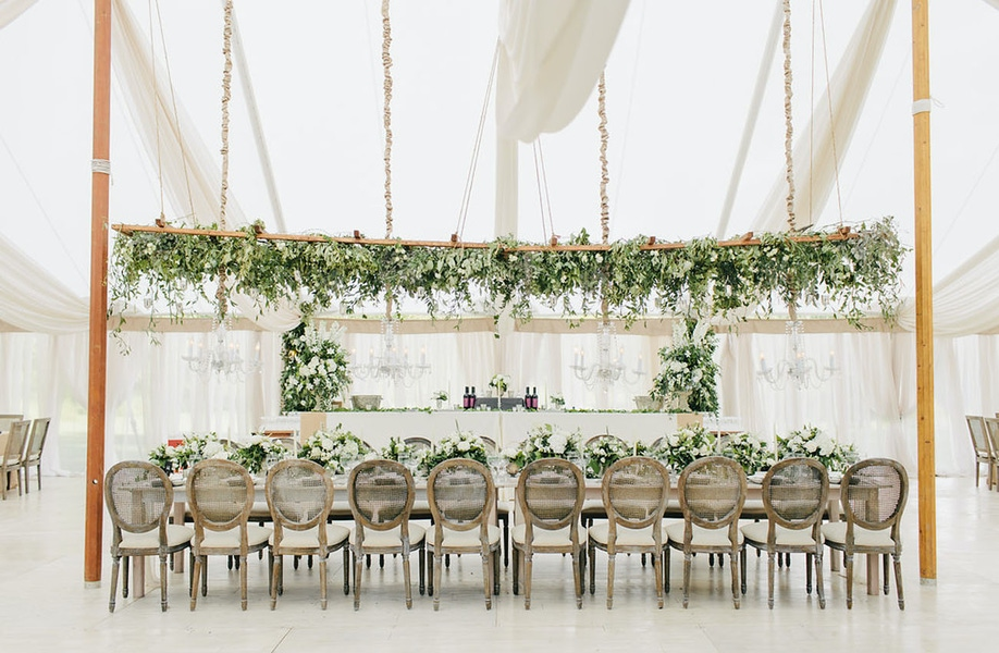 Greenery in a white tent