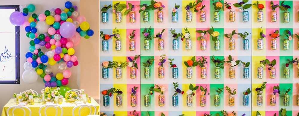 Colorful LaCroix wall with vibrant colored flowers