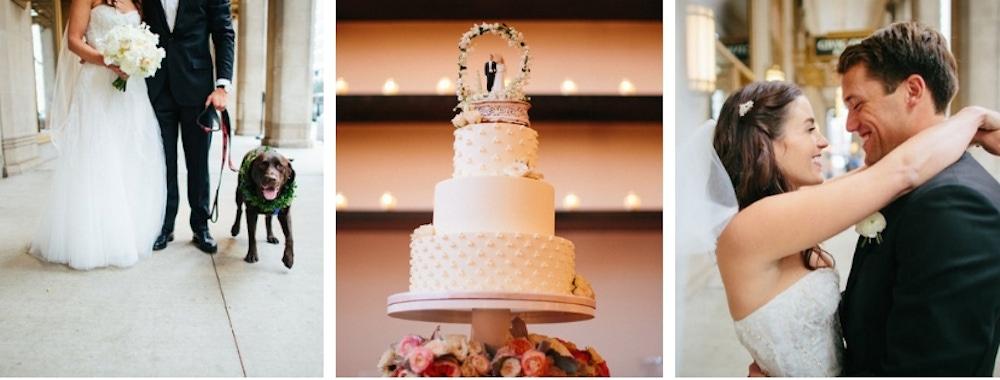 Liz Adams and groom and wedding cake