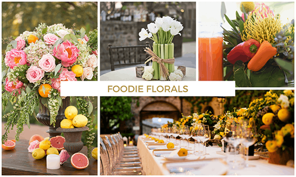 Florals and food party table decor