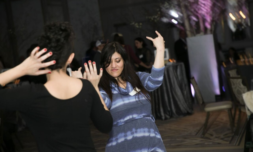 Guests dancing at party
