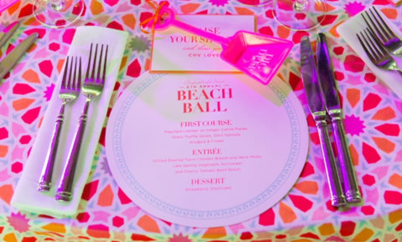Party place setting and dinner menu