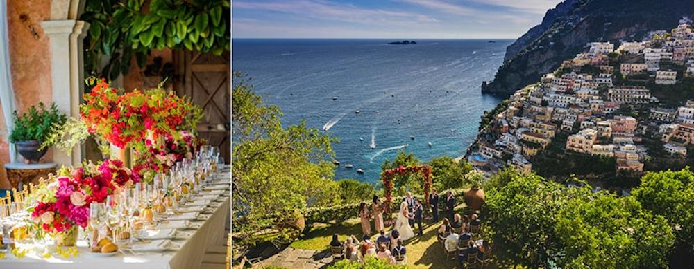 Beach view venue with vibrant floral table centerpieces at Villa San Giacomo