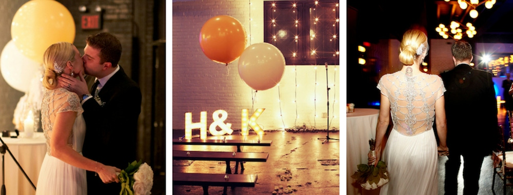 Helena Glazer and groom white and orange wedding