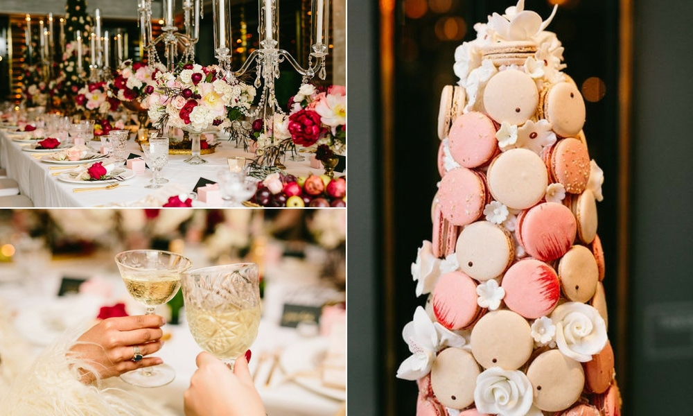 macaroon tower, red, pink, and white florals and crystal