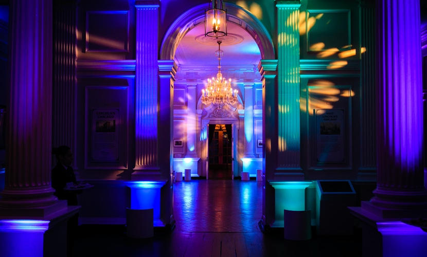 Green, blue and purple lighting at party
