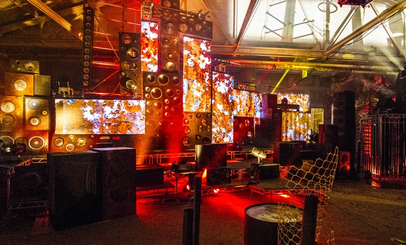 red party lighting and music speakers