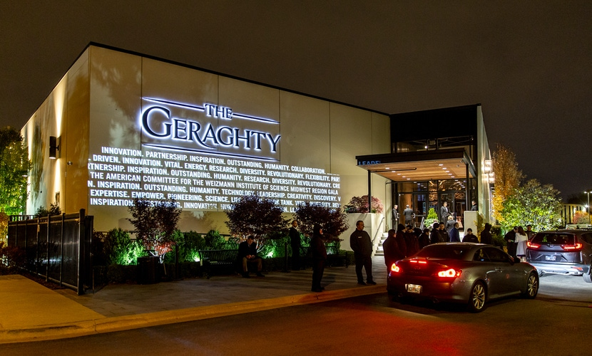 Outdoor lighting and greenery at The Geraghty Chicago