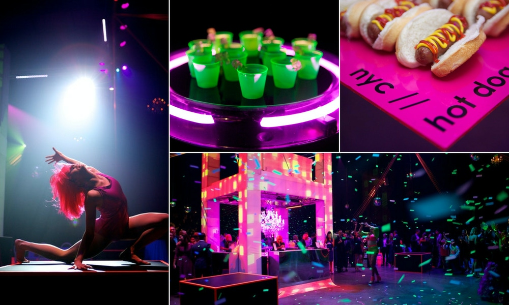 neon pink, green and purple party lights, entertainment and appetizers on dance floor