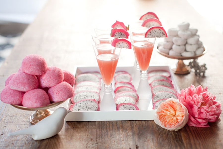 Pink desserts and drinks