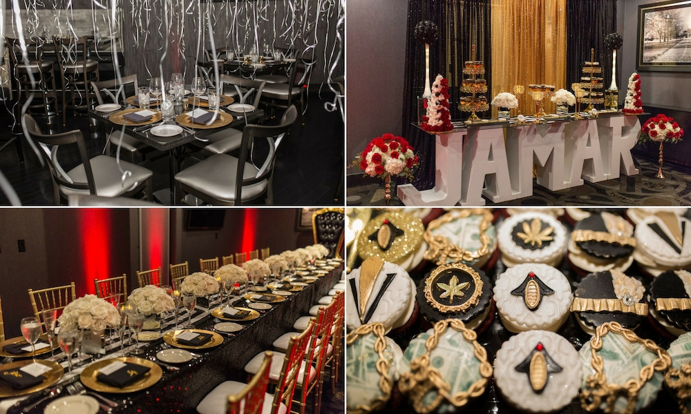 red, black and white birthday party