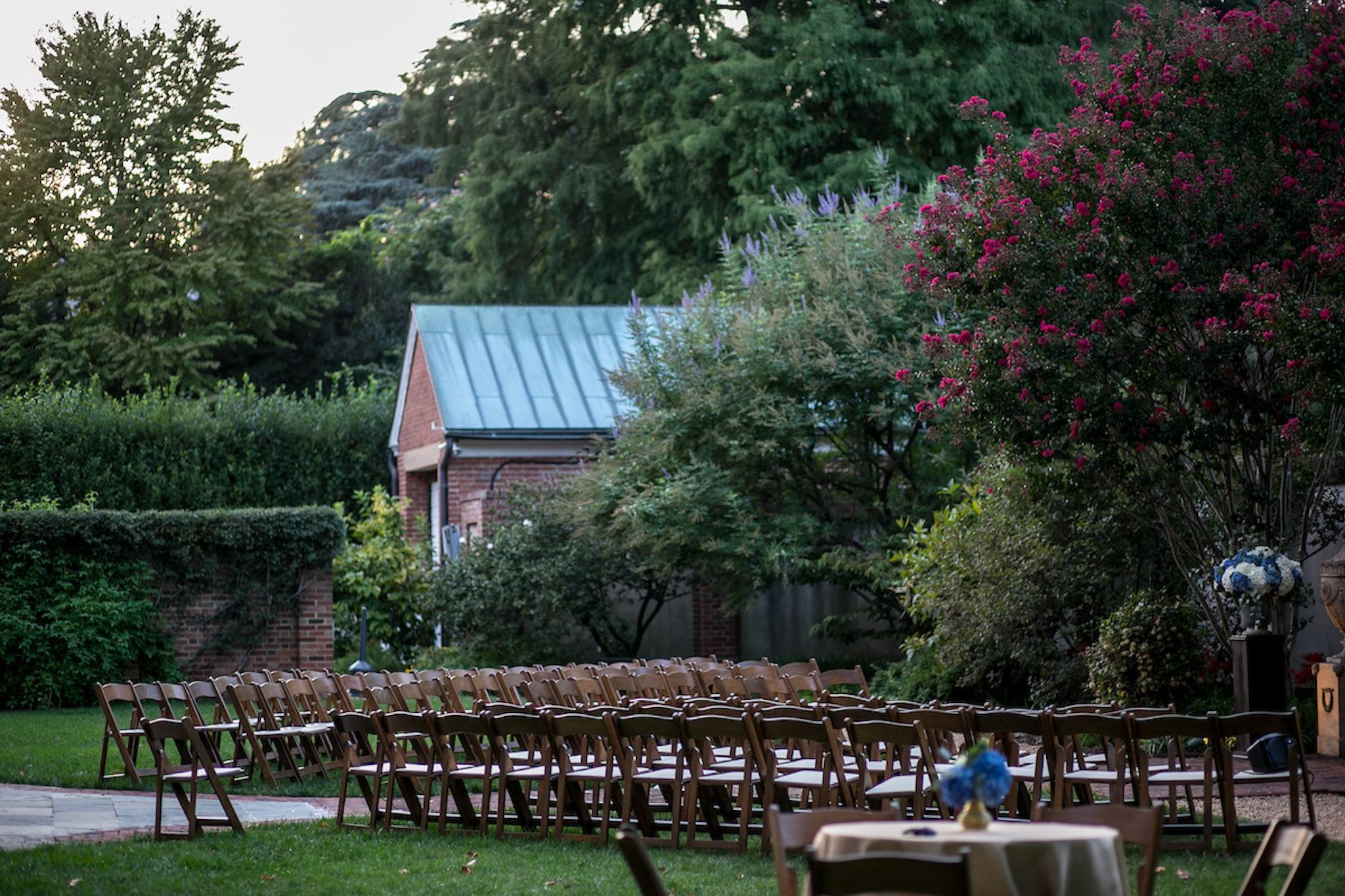 lush outdoor wedding ceremony at landmark dumbarton house in washington, d.c.