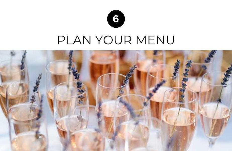 wedding drinks and menu
