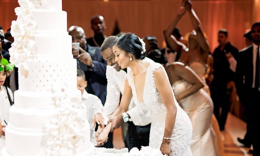 Ray J and Princess love cutting wedding cake