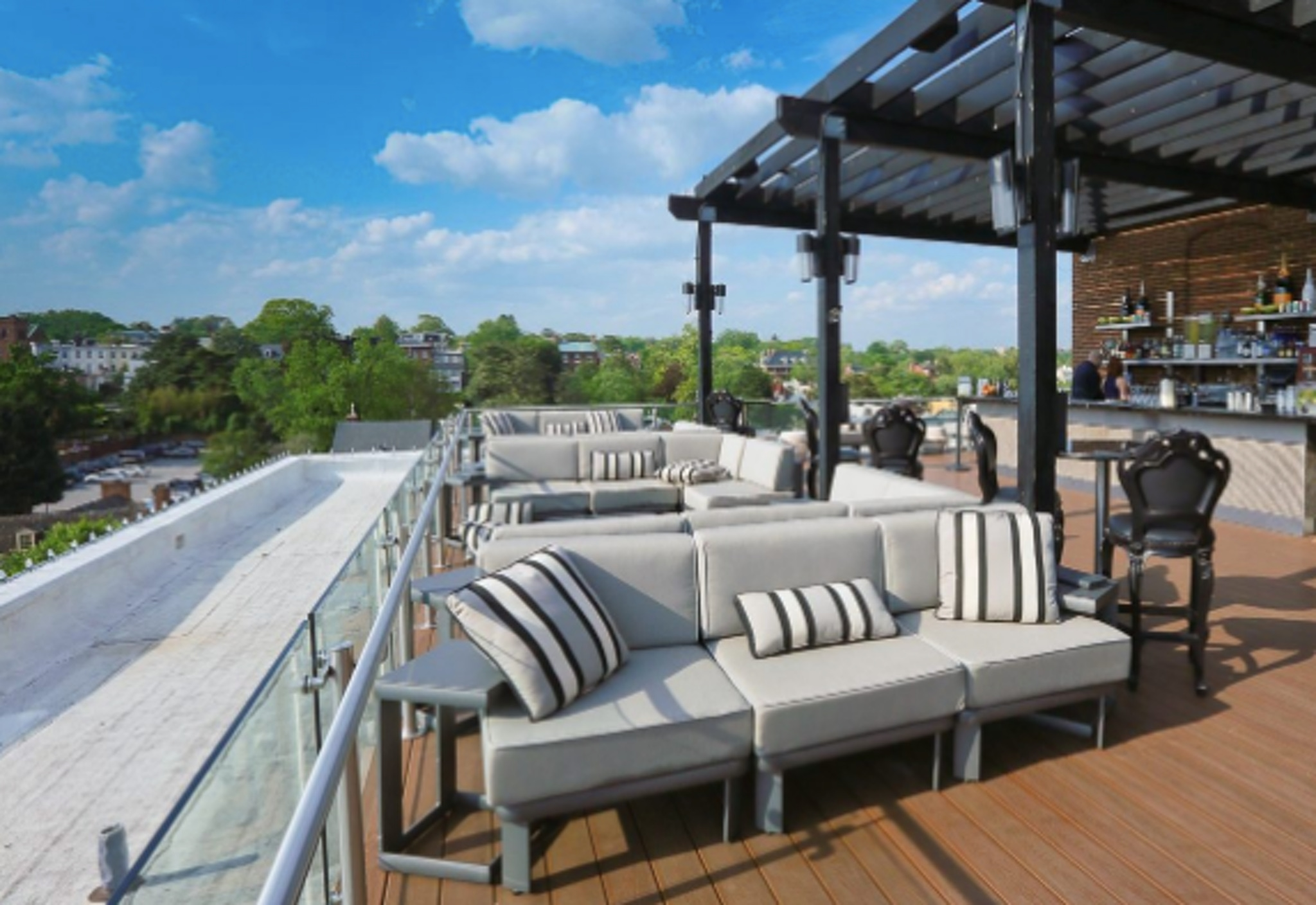 sweeping views from rooftop decorated with chic striped furniture and a full bar at the graham washingtion, d.c.