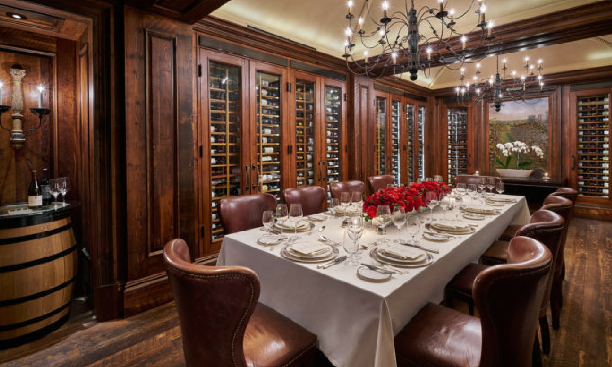 dark wood paneled wine room for private dining event at the jefferson washington, d.c.