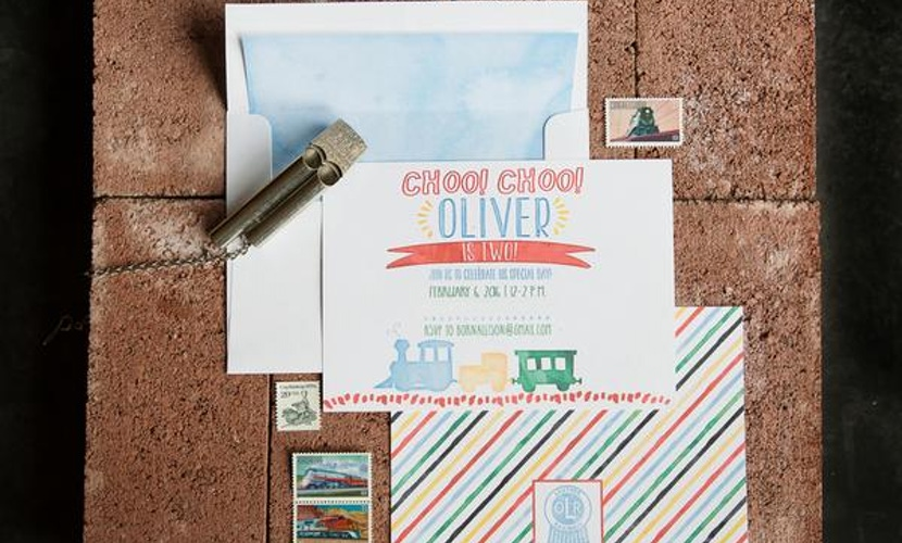 train-themed kid's birthday party idea - cards