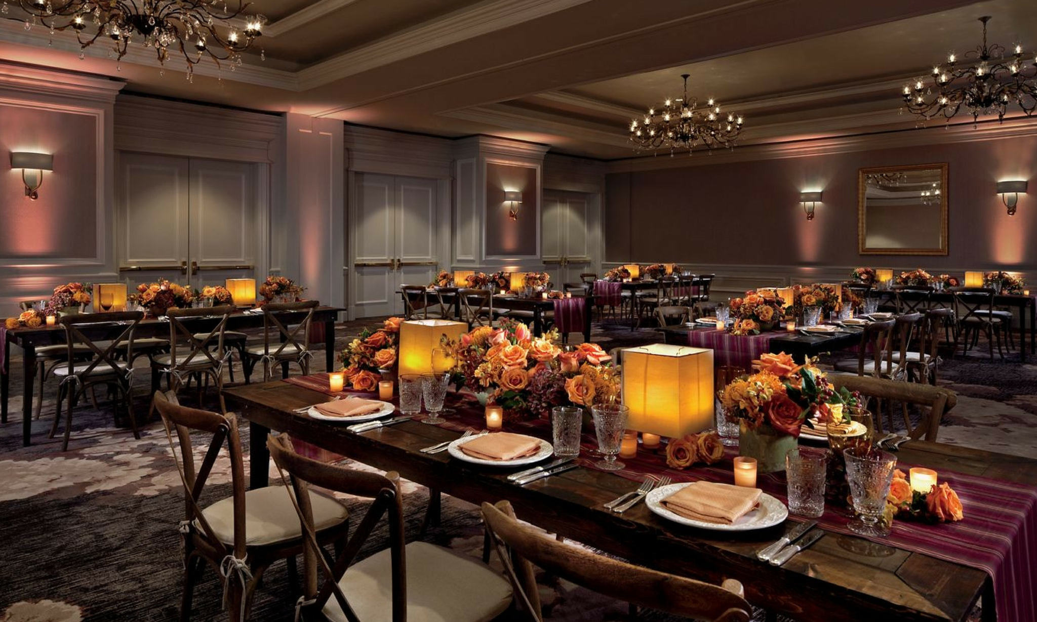candlelit luxury event room at ritz carlton in washington dc