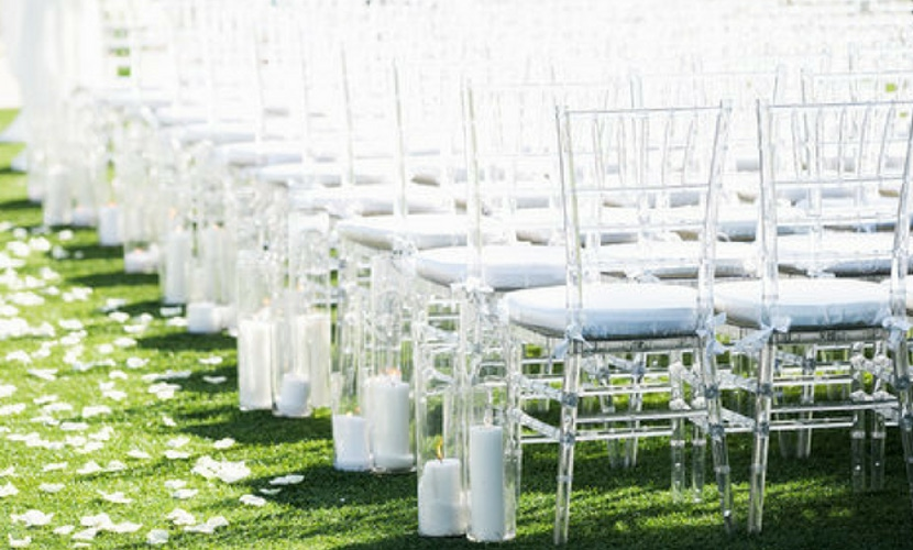 green and white wedding aisle