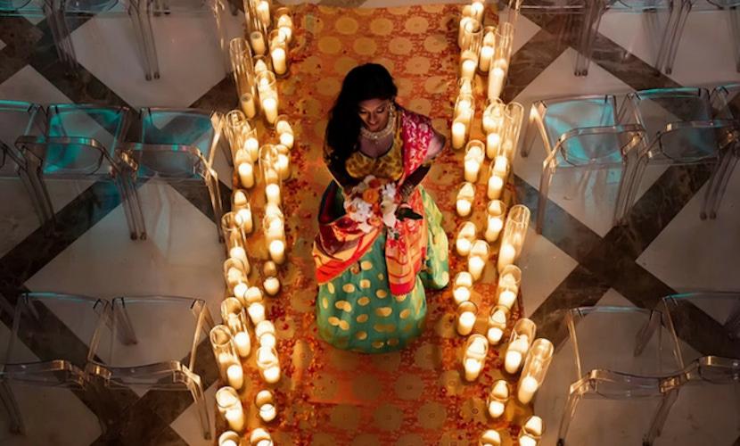 candlelit wedding aisle