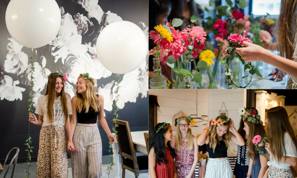 Floral accessories and guests at sweet 16 party