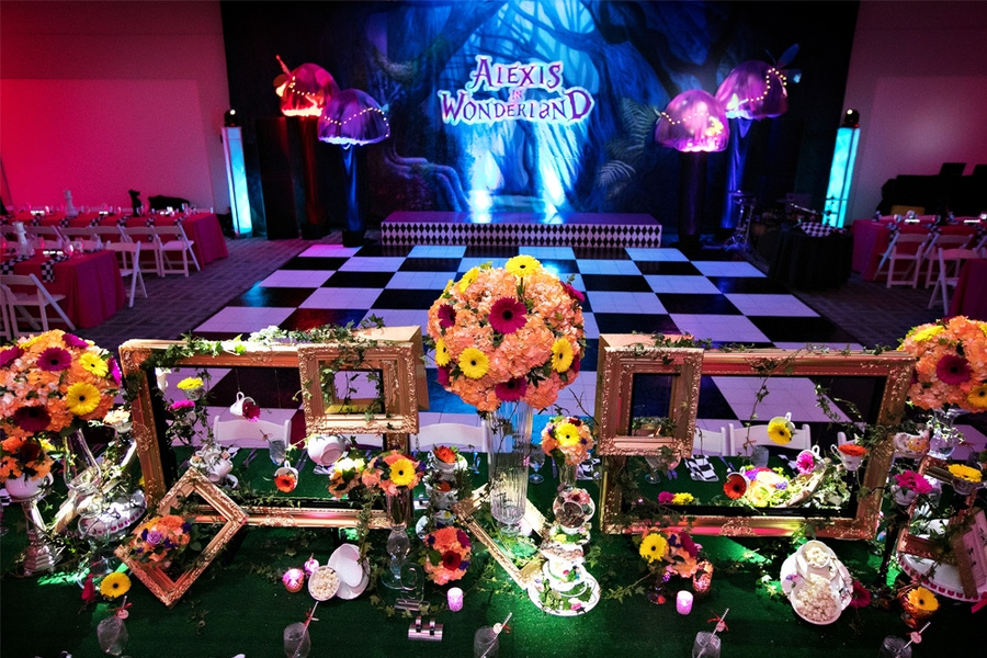 Floral decorations with blue and pink lit room