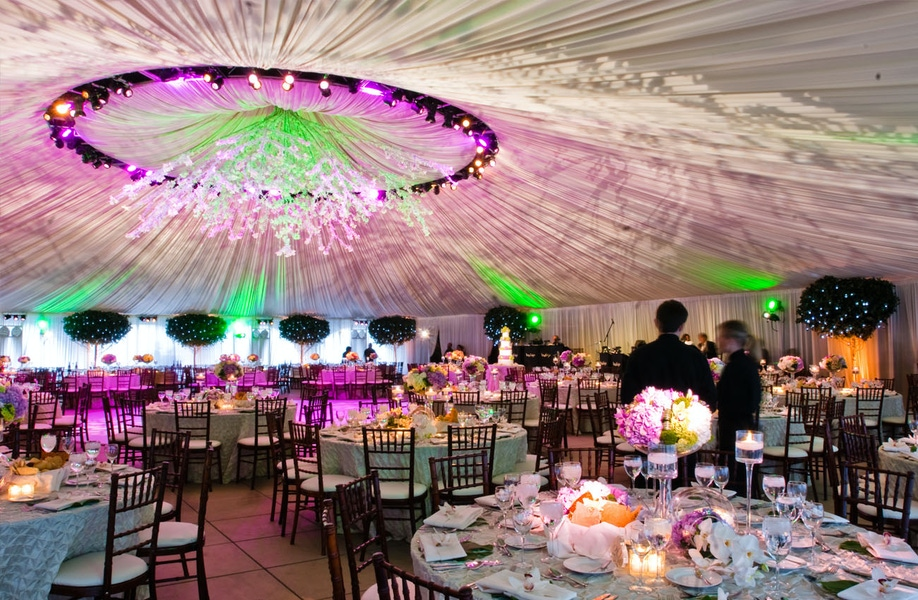 Pink and green lit tent