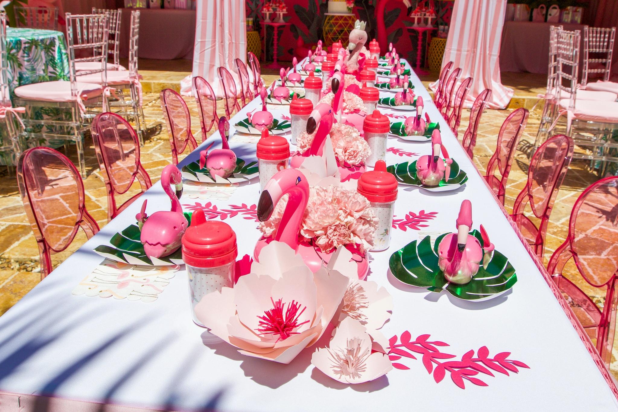 flamingo centerpieces birthday party
