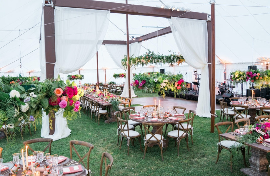 Floral decorations in tent