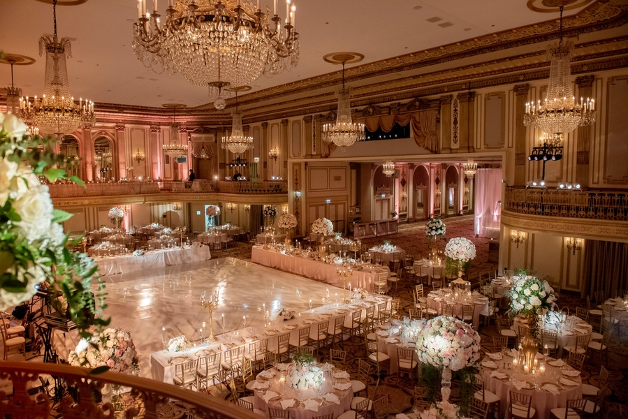 Large ballroom with hanging chandeliers