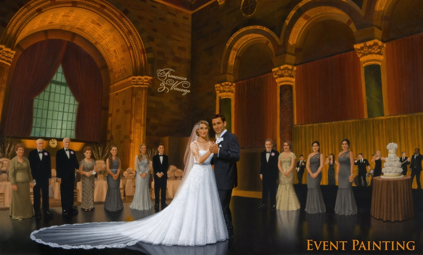 live wedding painting couple first dance